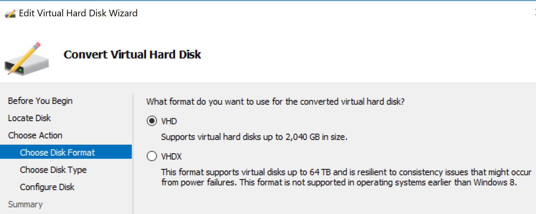 Convert Hyper-V generation 2 vhdx disk to generation 1 vhd